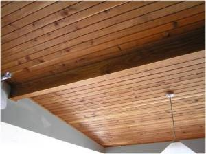 Finished ceiling with Douglas Fir beam